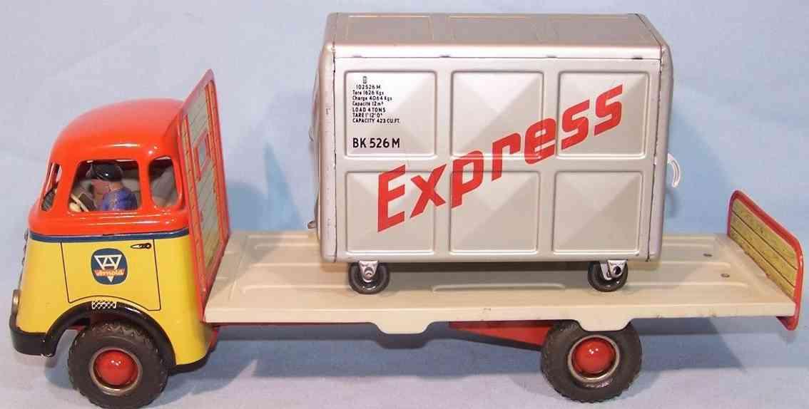 arnold blech spielzeug langpritschen laster mit container express
