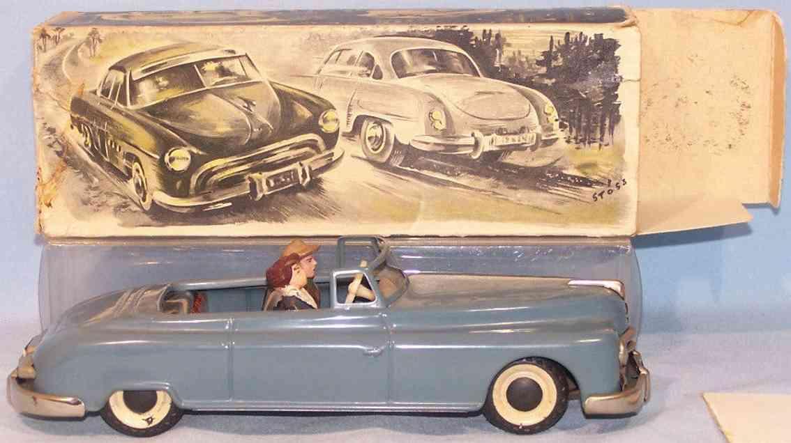 arnold  tin toy car candidat cabriolet clockwork blue