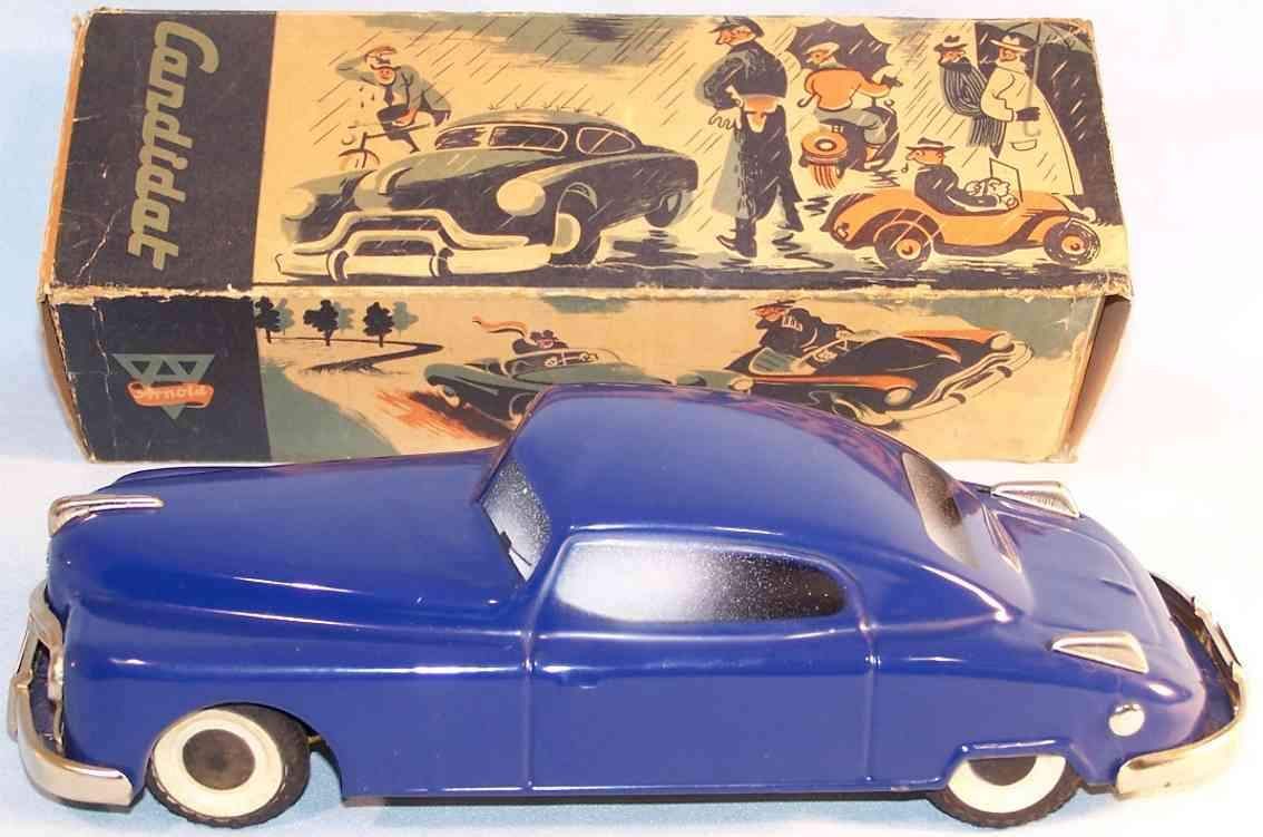 arnold tin toy car candidat clockwork blue