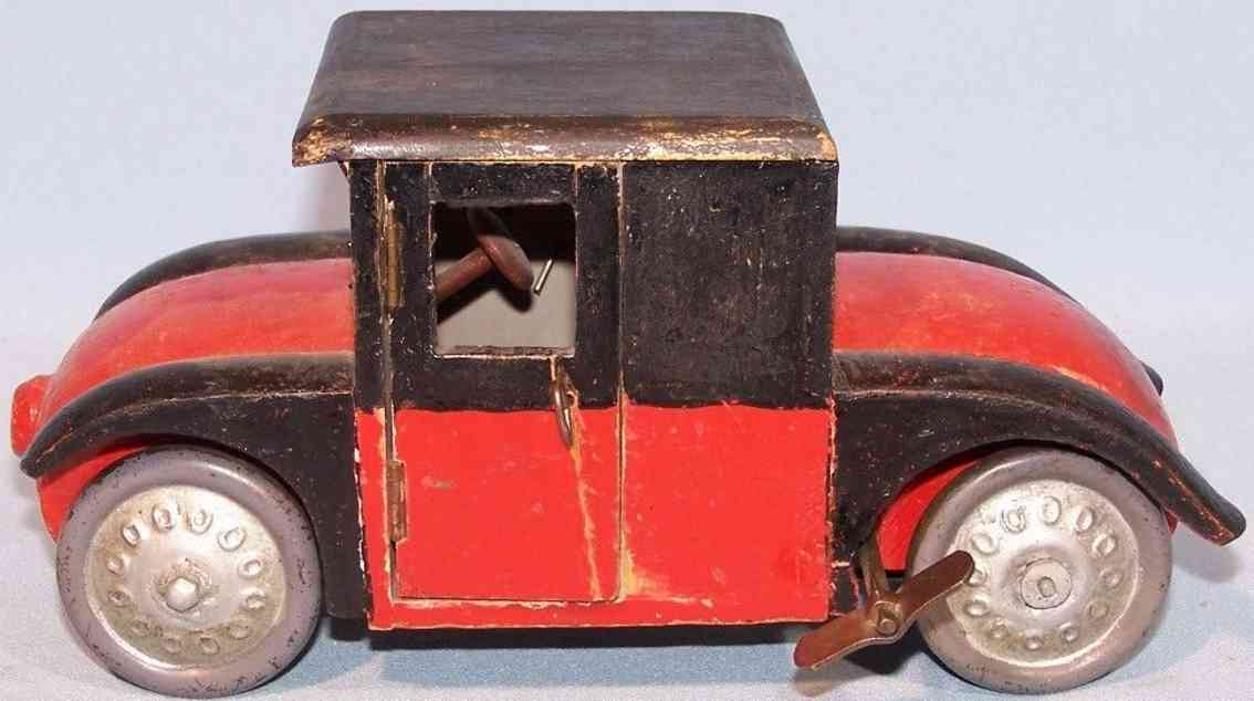 arnold wooden toy car hanomag hand pattern red black clockwork