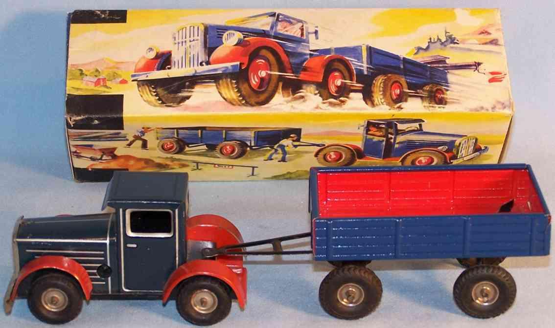arnold blech spielzeug lastwagen mit anhaenger blaugrau