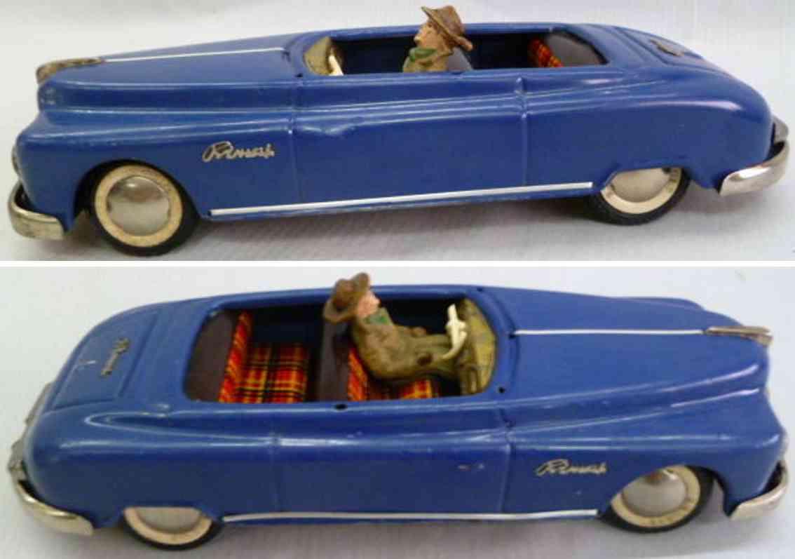 arnold blau blech spielzeug auto primat cabrio in blau mit fahrerfigur mit hut
