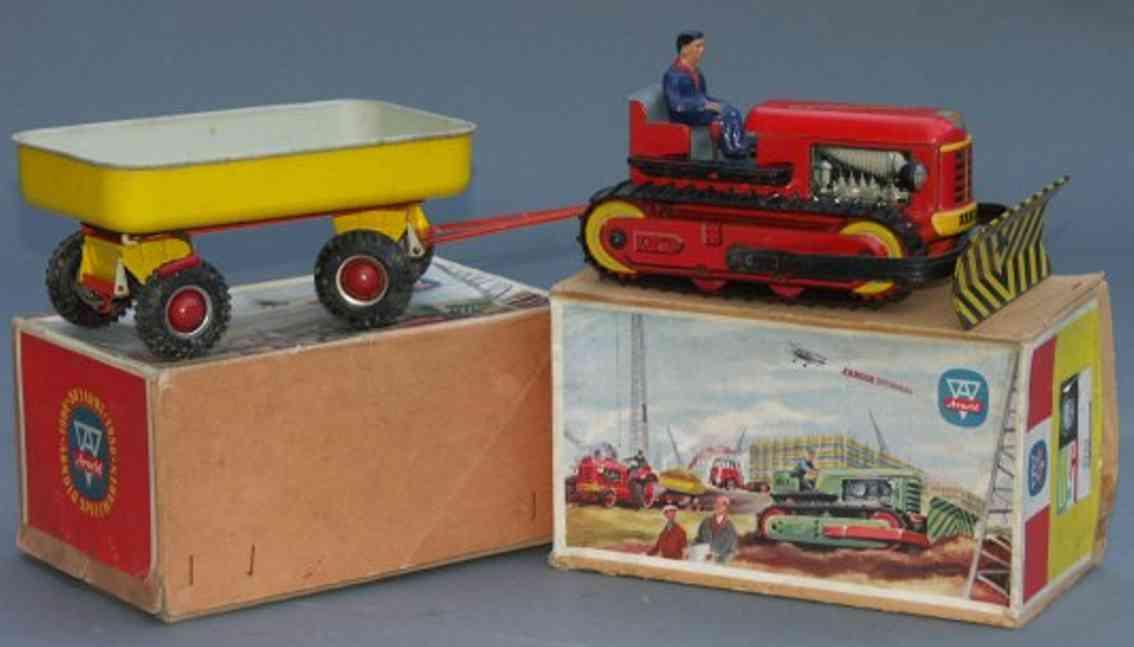 arnold blech spielzeug raupe electric mit fahrer in rot und schwarz lithografiert,
