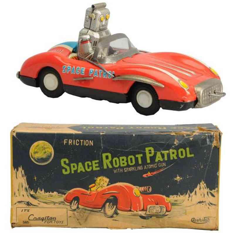 asahi atc 565 tin toy space robot patrol car