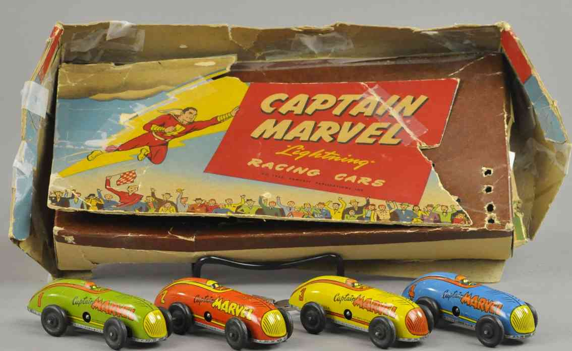 automatic toy works tin toy race cars captain marvel lightning racing cars