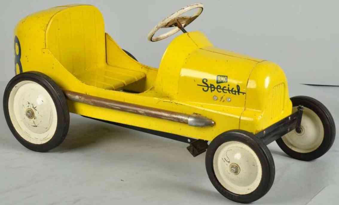 BMC toys 8 Kugel Special Tretauto aus Stahlblech in gelb