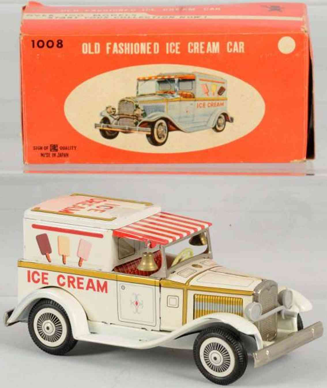 bandai 1008 tin ice cream truck friction toy