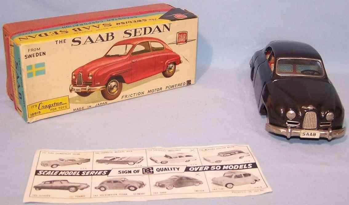 bandai 10615 tin toy car saab coupe black