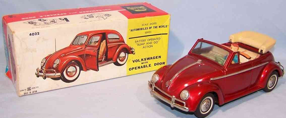 bandai 4022 tin toy car vw beetle cabriolet red metallic battery operated