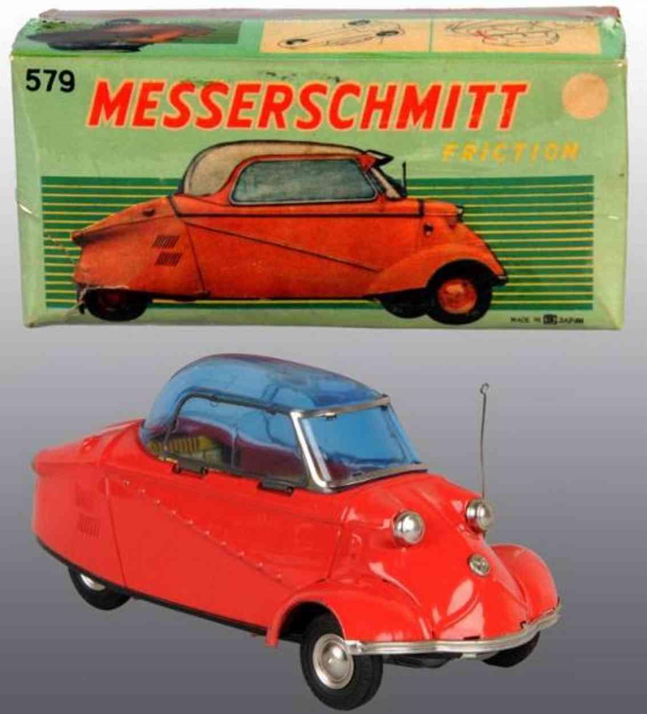 bandai 579 tin toy car messerschmitt car friction drive red