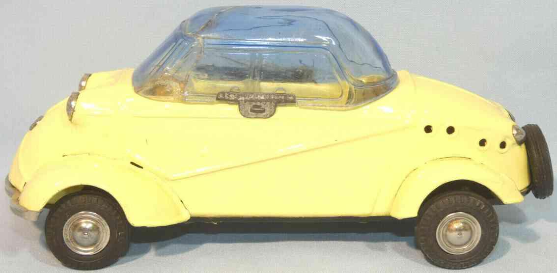bandai 579 blech spielzeug auto messerschmitt friktionsantrieb gelb
