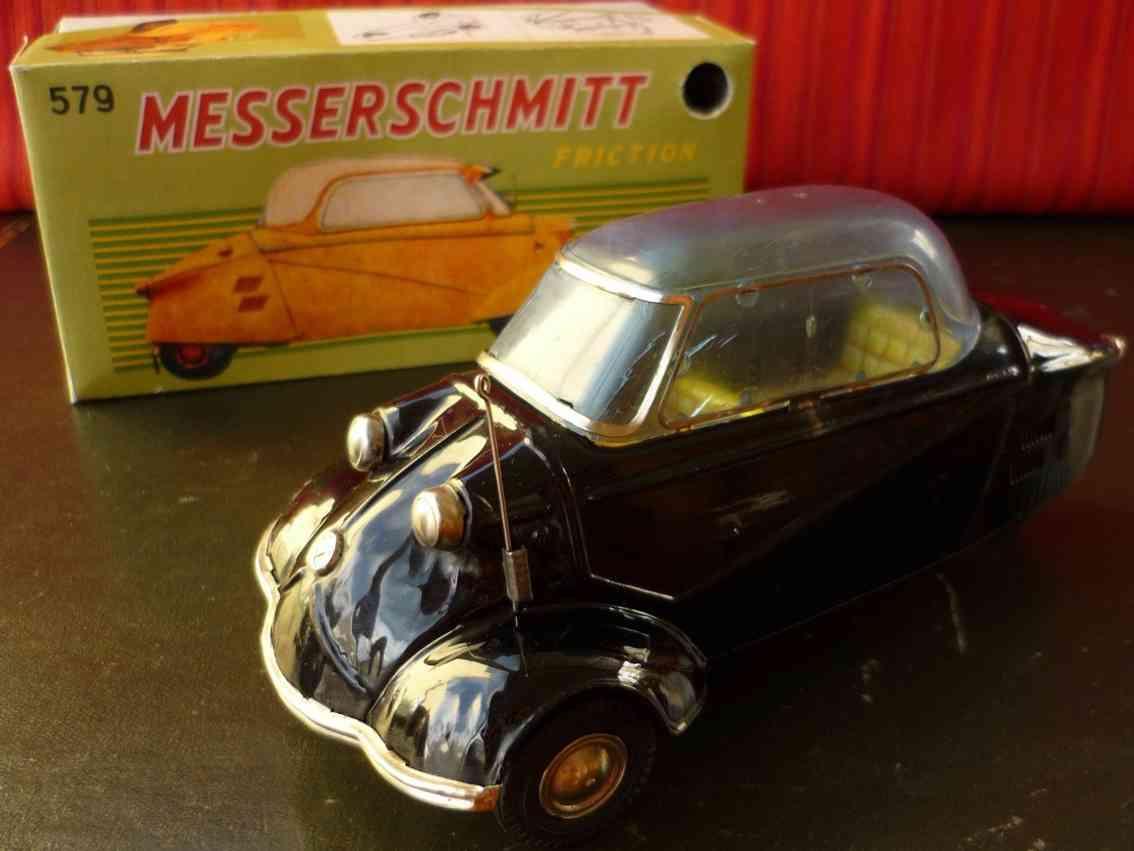 bandai 579 blech spielzeug auto messerschmitt friktionsantrieb schwarz