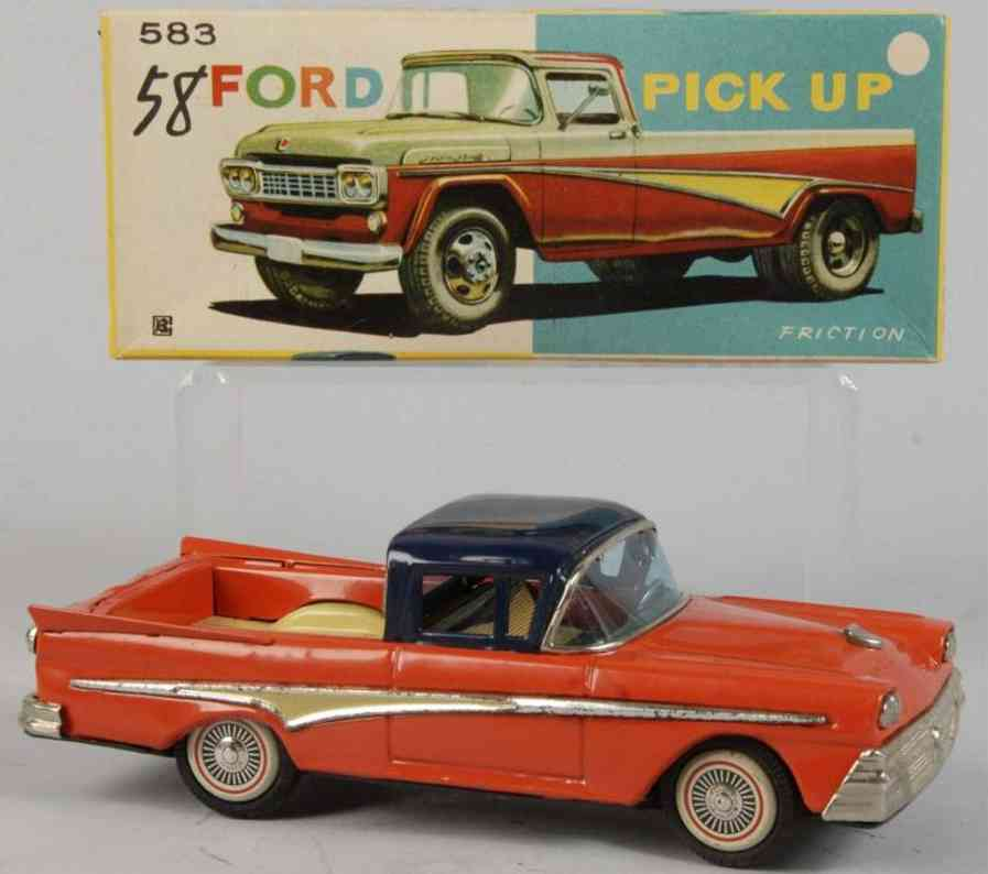 bandai 583 tin toy car ford pick up truck friction drive