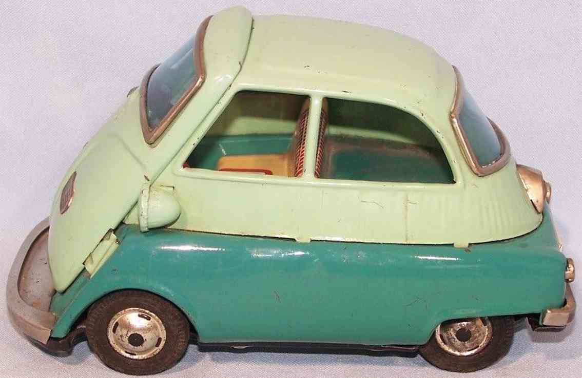 bandai 588 car tin isetta friction toy green white