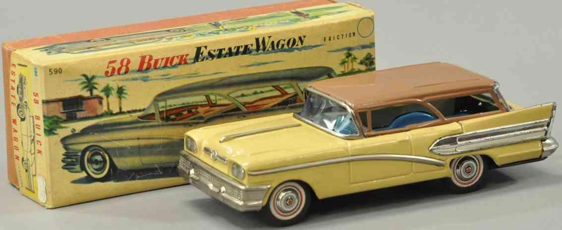 bandai 590 blech spielzeug auto buick kombi 1958 friktionsantrieb braun gelb