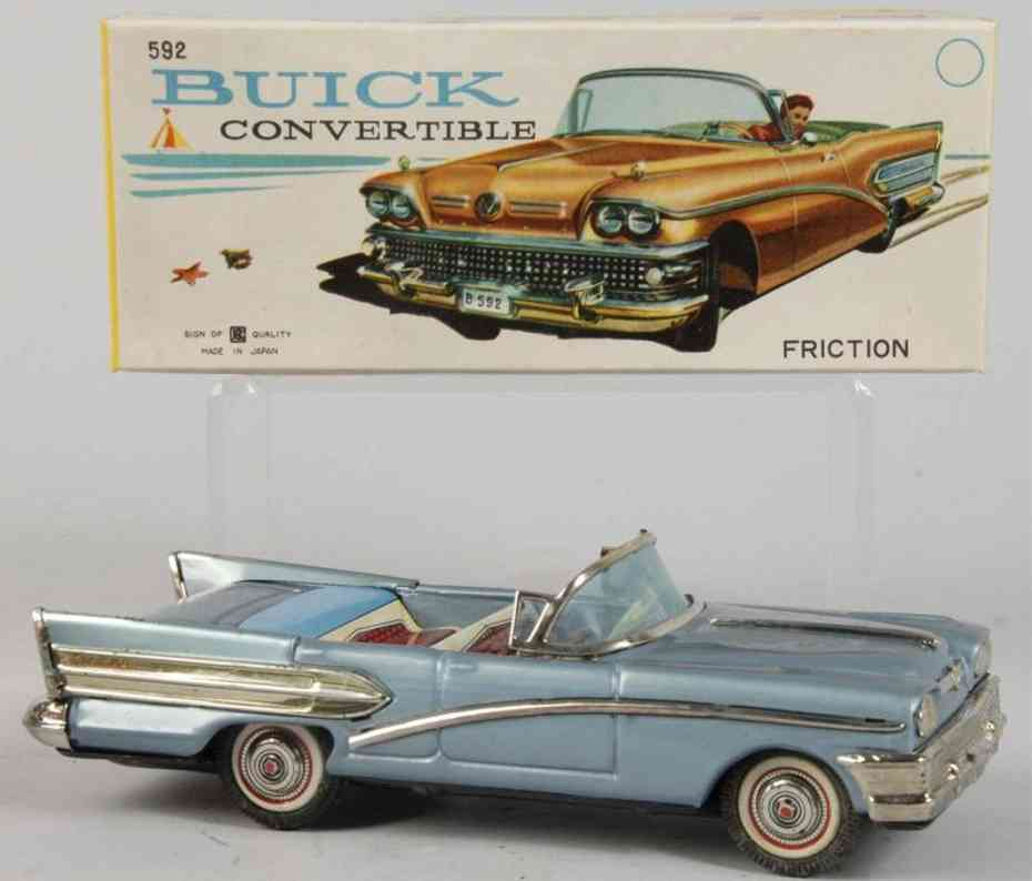 bandai 592 tin toy car buick convertible blue friction drive