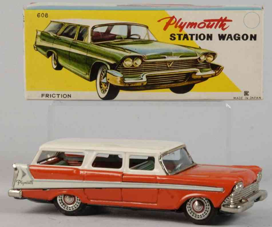 bandai 608 tin toy car plymouth station wagon red white friction drive