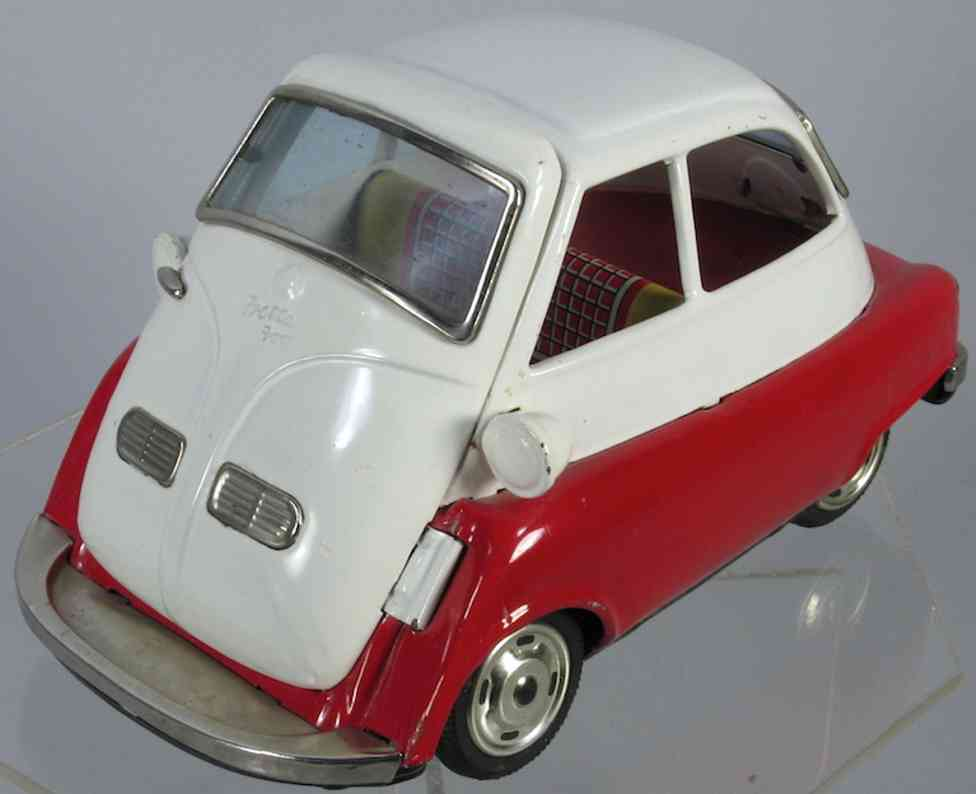 bandai 700 tin toy car bmw isetta red white friction drive bubble car