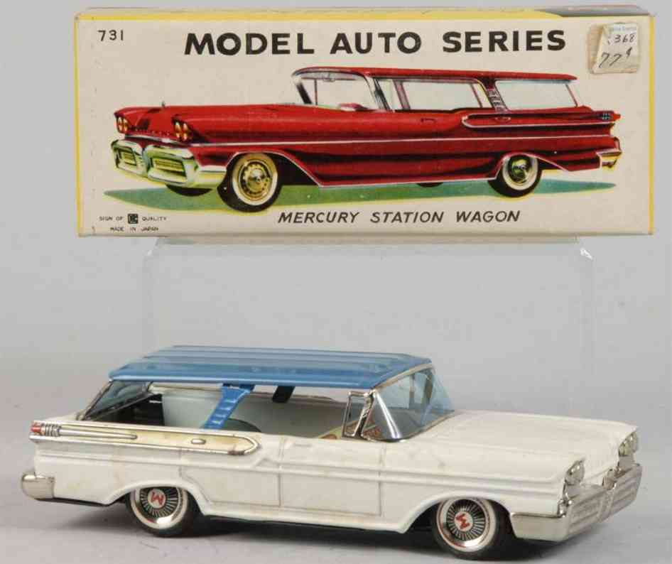 bandai 731 tin toy car mercury station wagon blue white friction drive