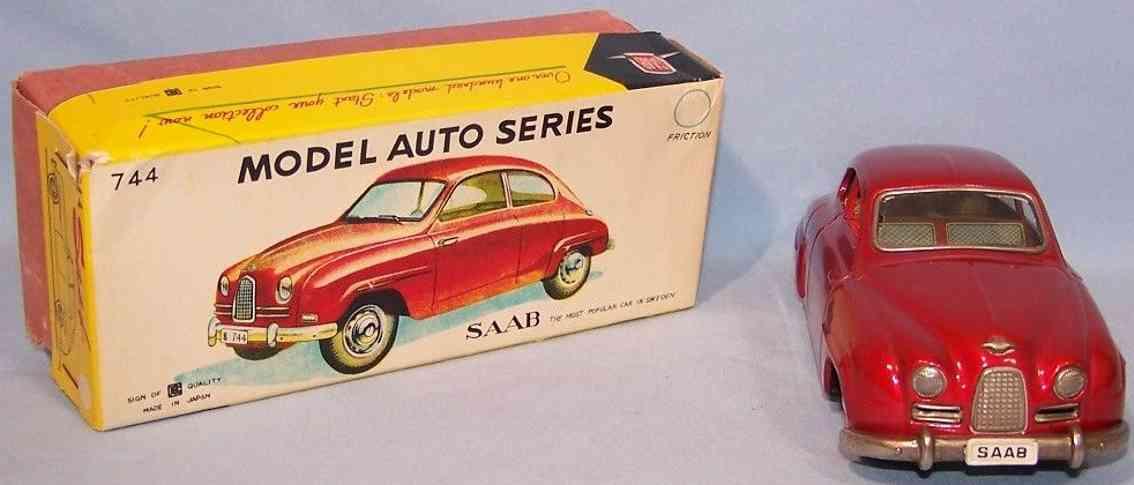 bandai 744 tin toy car saab sedan coupe red flywheel drive