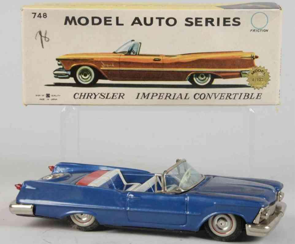 bandai 748 tin toy car tin crysler imperial convertible blue friction drive