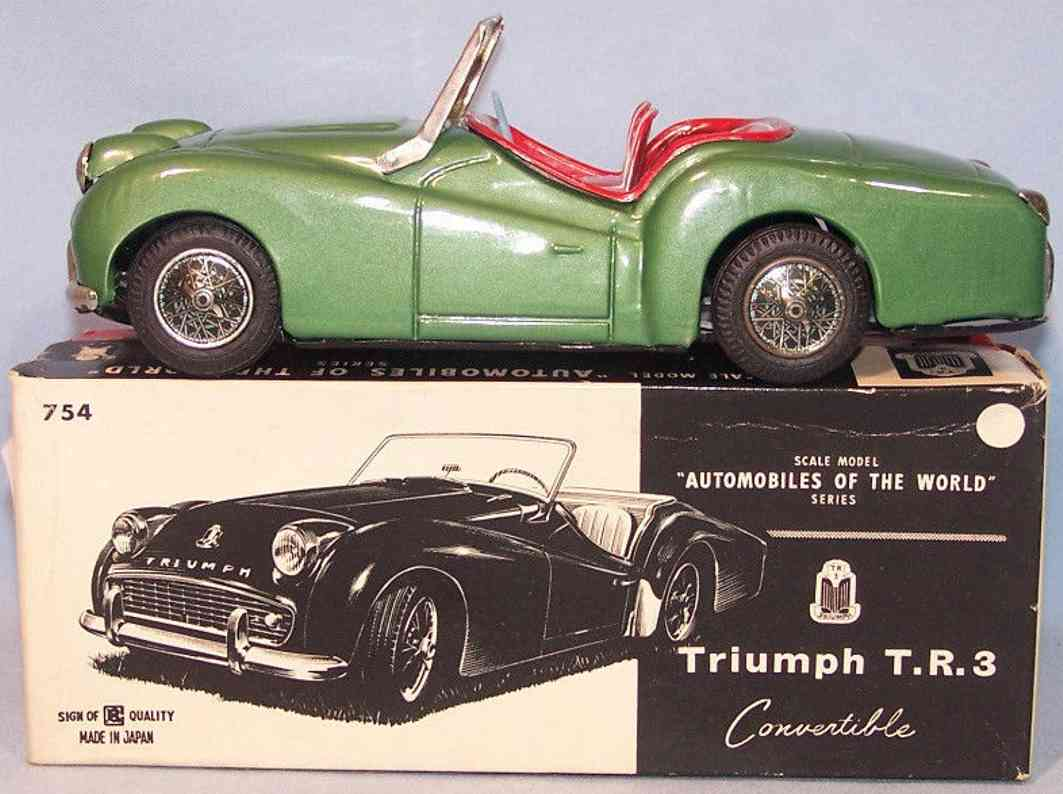 bandai 754 tin toy car triumph tr3 convertible green flywheel