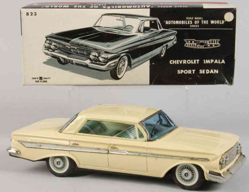 bandai 823 tin toy car chevrolet impala friction drive