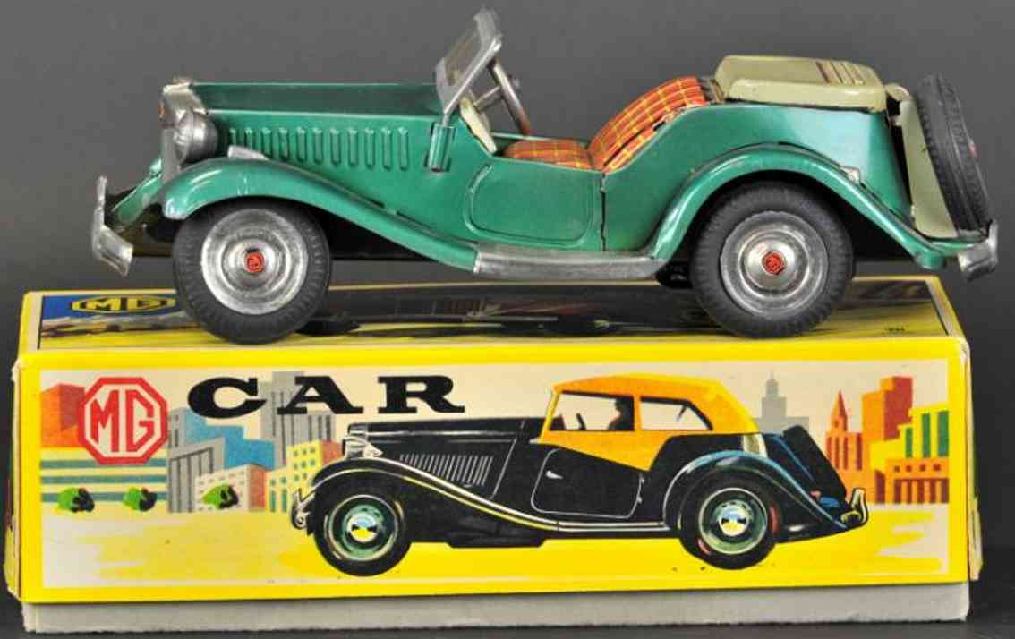 bandai tin toy car mg midget two-door convertible friction green