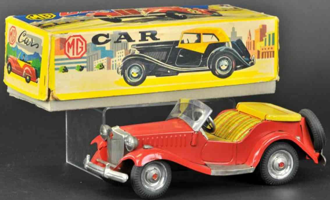 bandai tin toy mg midget two-door convertible car red