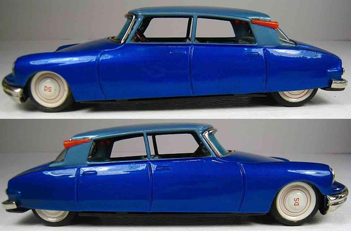bandai 740 tin toy car citroen ds 19 blue friction drive