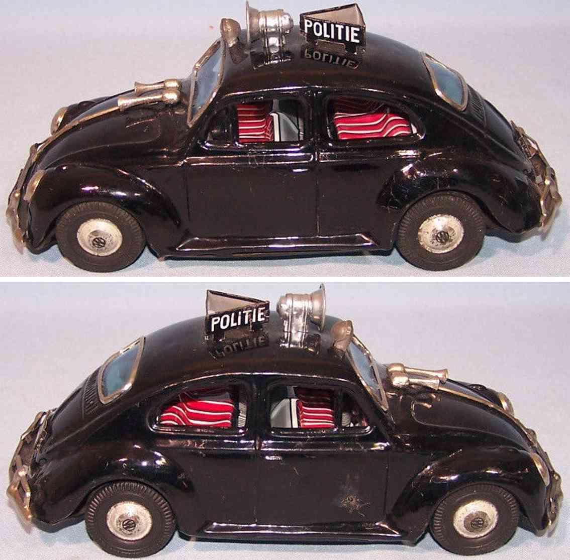 bandai tin chrome toy car dutch police beetle black