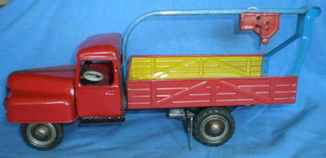 berkenkamp & schleuter blech spielzeug lastwagen lastwagen mit lastenaufzug über der ladefläche mit uhrwerk;