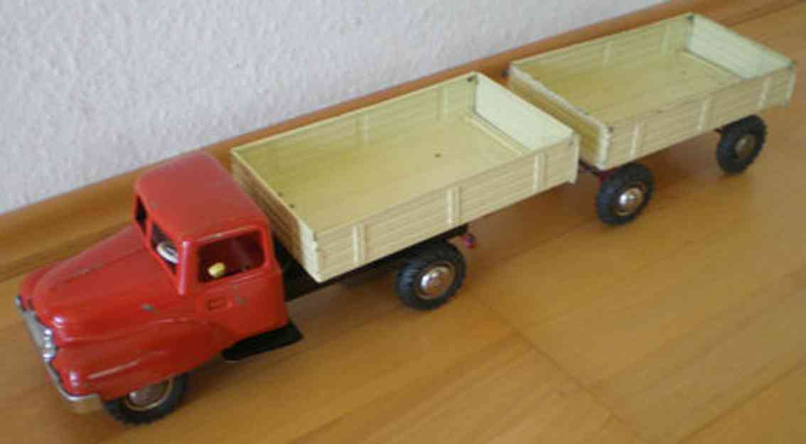 berkenkamp & schleuter blech spielzeug lastwagen lastwagen mit anhänger mit friktionsantrieb. die ladefläche