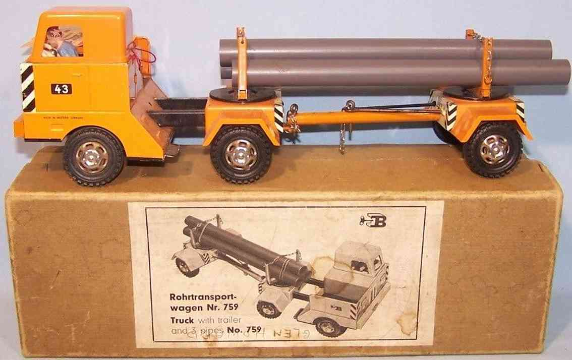 biller 759 tin toy truck pipe transport trolley