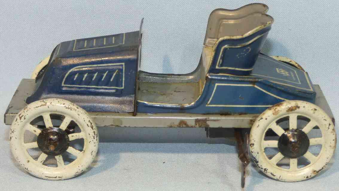 bing 10386 tin toy car de dion spyde tourer with clockwork blue