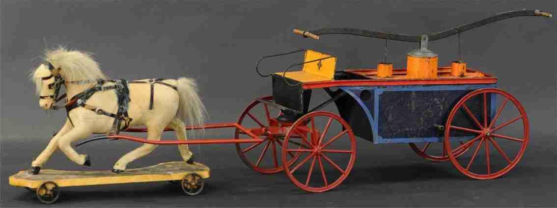 bing 156/23 blech alte feuerwehrloesschpumpenwagen handbetrieb mit pferd