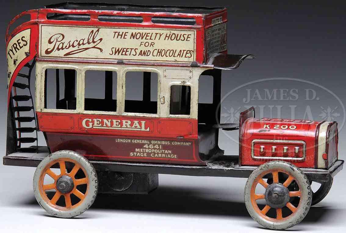 bing 14299/1 england tin toy double decker bus
