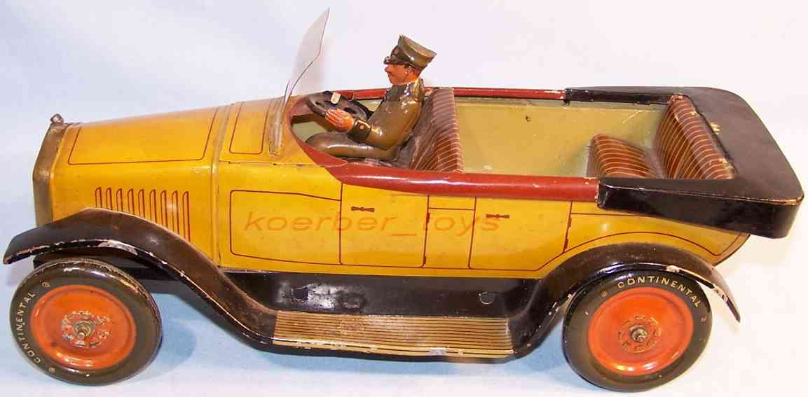 bing tin toy car cabriolet with driver and clockwork yellow black red