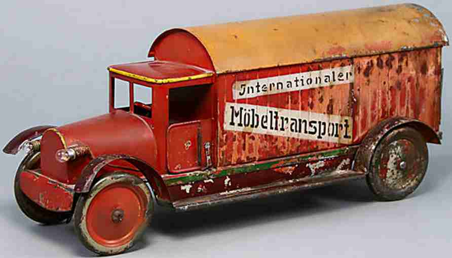 bing tin toy truck clockwork drive internationaler moebeltransport