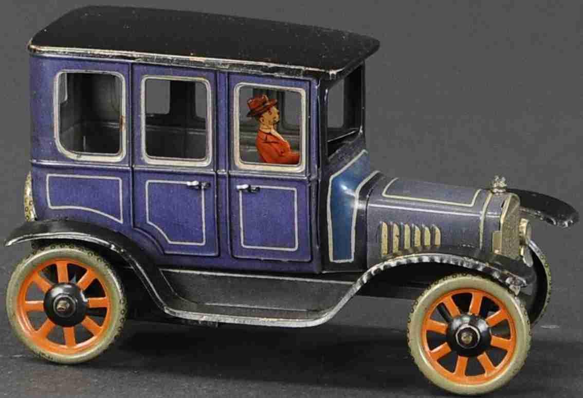 bing blech spielzeug auto taxi modell t limousine  koenigsblau