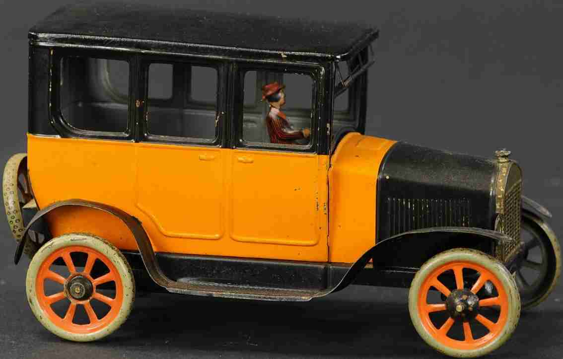 bing blech spielzeug auto taxi mit fahrerin uhrwerk orange schwarz