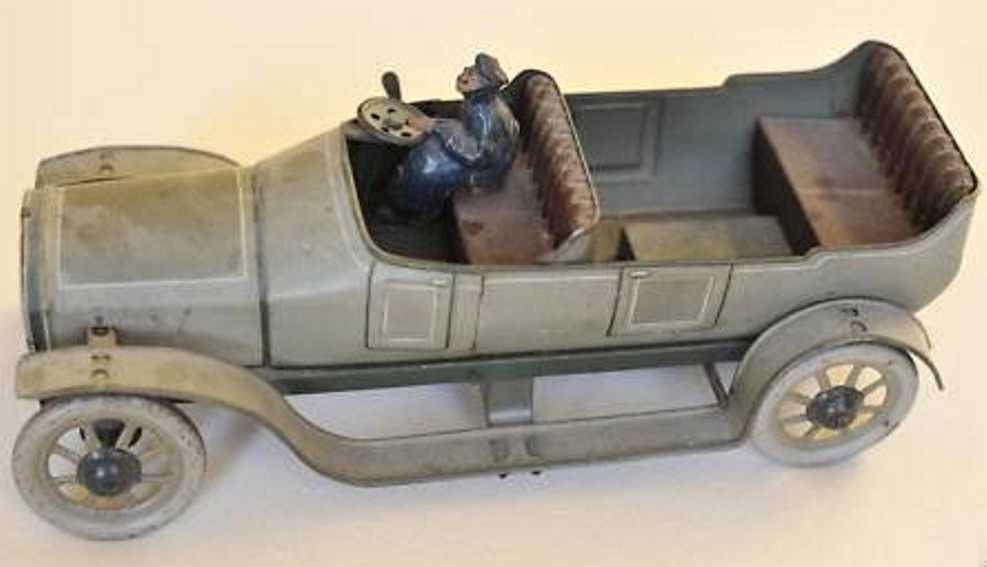 bing tin toy car tourer driver clockwork gray