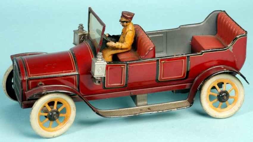 bing tin toy car touring car open four seat tourer marooin driver