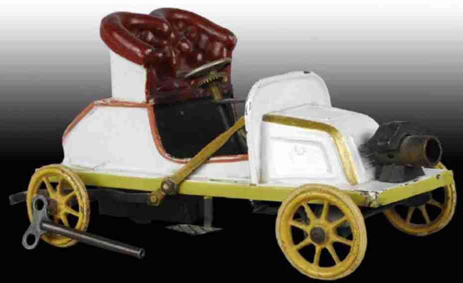 bing de dion tin wind-up toy car tourer clockwork white