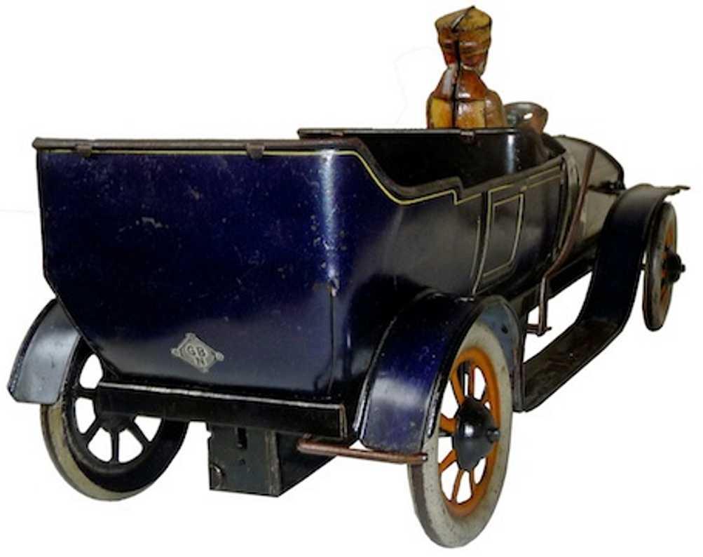 bing tin toy car double seat touring car clockwork driver blue