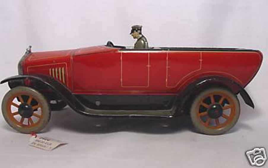 bing tin toy touring car open tourer wind-up toy red