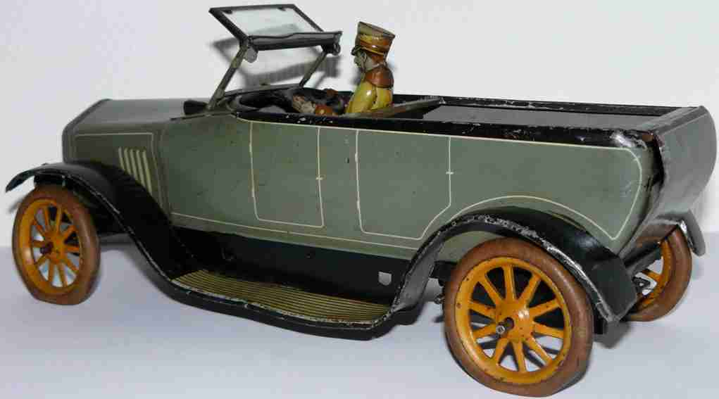 bing tin toy touring car with driver wind-up mechanism front window