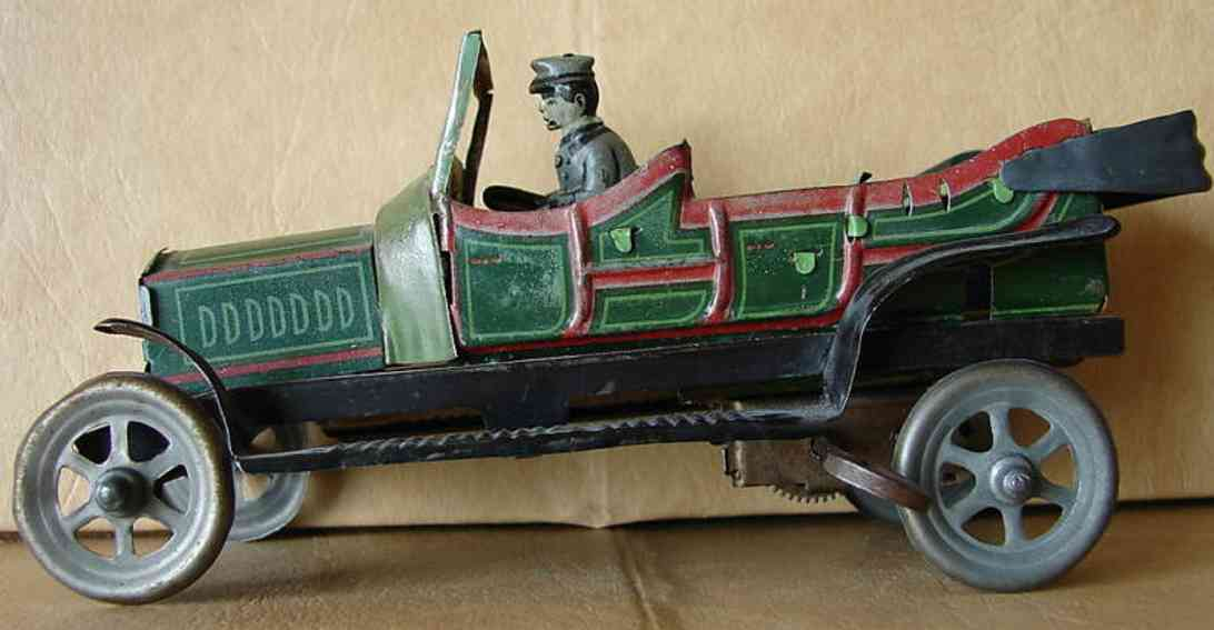bing tin car limousine convertible wind-up toy green