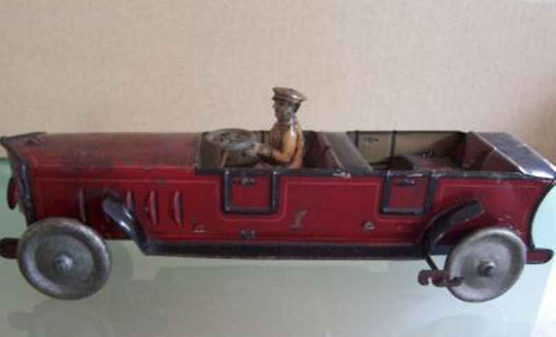 bing tin toy car touring car cabriolet in red