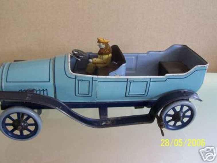 bing tin toy touring car with key light blue